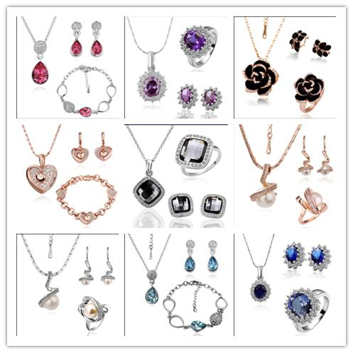 Órganos mezclados chapado en oro 18K Swarovski Elements Crystal Jewelry Set Collares de moda Pulseras Anillos Pendientes envío gratis 9 set / lot