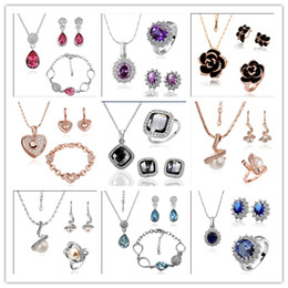 Wholesale Fashion Earrings Gold Ring - Mixed orders plated 18K gold Swarovski Elements Crystal Jewelry Set Fashion Necklaces Bracelets Rings Earrings free shipping 9set lot