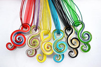 Wholesale Murano Multi Color Necklace - Music Notation Fashion Multi-Color Murano Glass Pendant Silk Cord Necklace Jewelry 6Pcs Lot NL25
