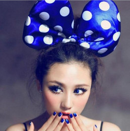 Wholesale Minnie Mouse Costume Ears - NEW Mickey Minnie Mouse Costume Ears Polka Dots Bow Hair Band Fancy Dress Party Headband Thanksgiving Christmas Halloween jessie06 50pcs