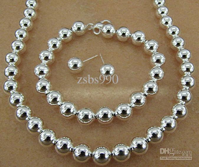 Plaqué argent sterling 925 6MM chaîne de perles collier collier boucles d'oreilles mode bijoux ensemble livraison gratuite /