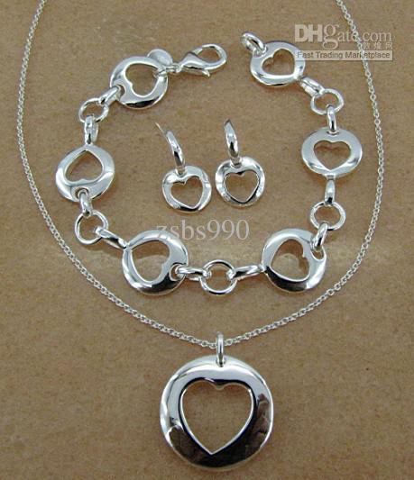 925 ensembles de bijoux en argent pendentif coeur collier bracelet boucles d'oreilles cadeau Saint-Valentin pour les femmes livraison gratuite /
