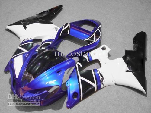 Envío gratis azul blanco negro Carenados para Yamaha YZF R1 2000 2001 YZFR1 00 01 YZF-R1 kit de carenado de la carrocería completa + Parabrisas