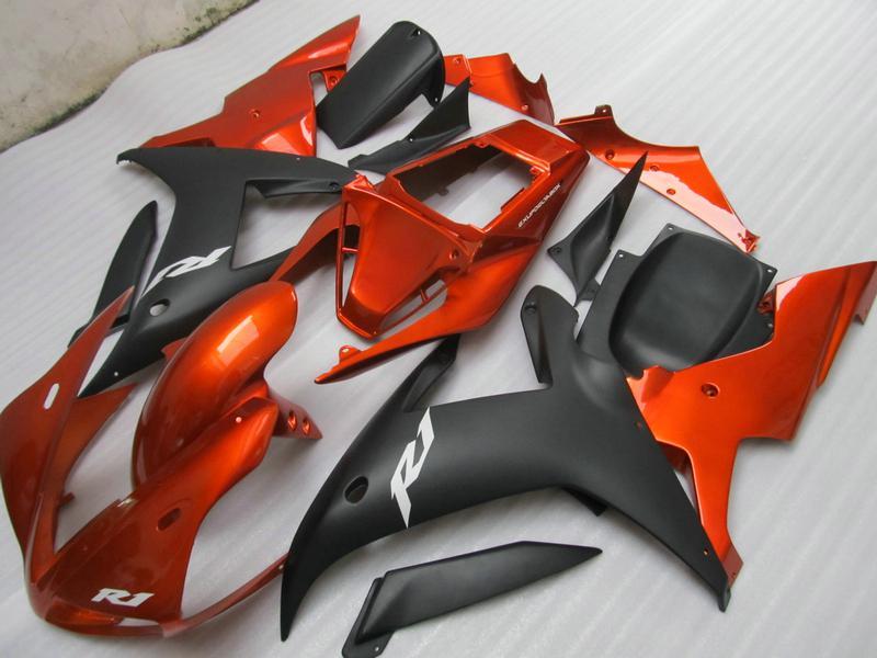 Carénages de carrosserie Orange Matte Black R1 pour Yamaha YZF R1 2002 2003 YZFR1 02 03 Kit de carénage complet YZF-R1 + Cadeau gratuit