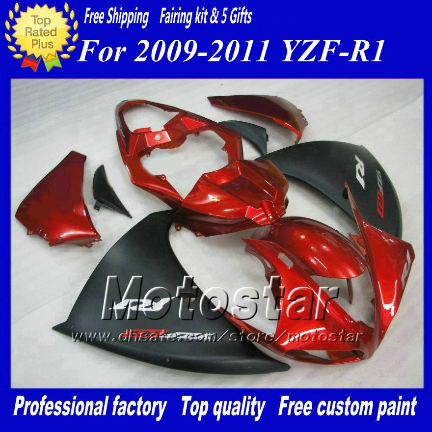 Carene rosse nere opache per Yamaha 2009 2010 2011 YZF R1 YZFR1 09 10 11 Kit carenatura completa YZF-R1 + regalo