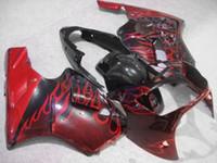 ingrosso corredi zig-zag abs zx12r-Kit carena iniezione fiamme rosse per Kawasaki ninja ZX12R 2002 2003 2004 ZX12R 02 03 04 ZX 12R 02-04