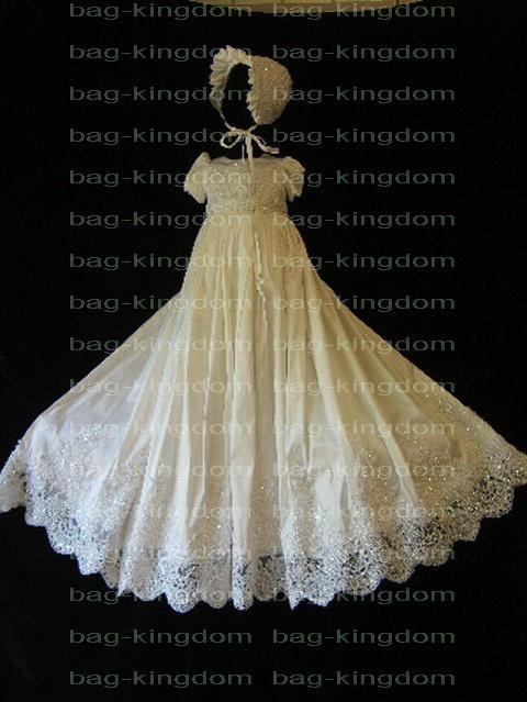 2018 Angell Christening Gown Ivory White Silk Set with Bonnet Bead ...