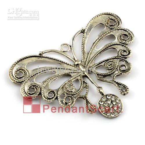 12 stks / partij, Top Mode Sieraden Ketting Sjaal Accessoires Zilver Mentale Alloy Rhinestone Butterfly Hanger Charm, Gratis Verzending, AC0147