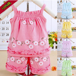 Wholesale Baby Girl Purple Coats - Wholesale - Children Clothing Girl Clothing Set Kids Clothes Set Suit Baby sling 2 pieces 5 colors Lanyards + shorts 6s l