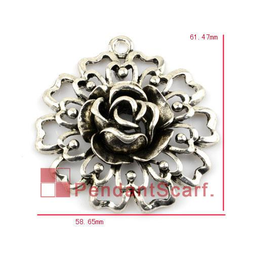 12 pz / lotto, top fashion gioielli fai da te collana risultati sciarpa scava fuori mentale in lega di zinco pendente del fiore, trasporto libero, AC0156