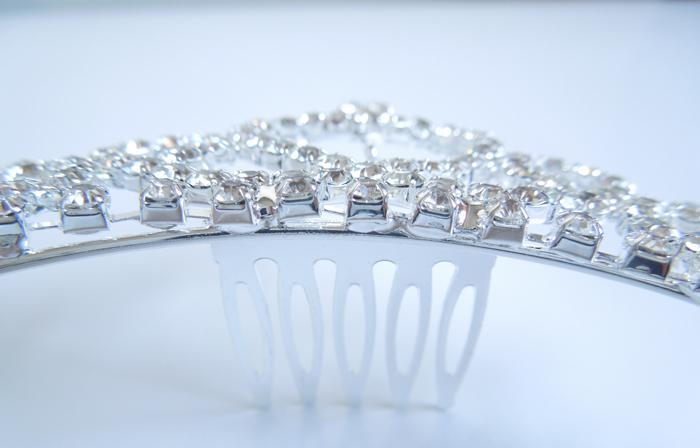 Mooie Clear Crystal Diamonds Wedding Hair Clips Crown Flowergirls Headpiece voor Lady FL18