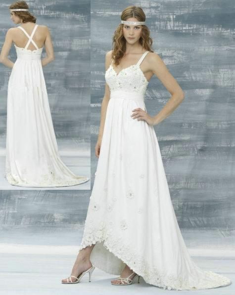 Discount short front long back beach wedding dresses 2013 for Cross back wedding dress
