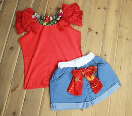 Wholesale Wear Tutu Jeans - Girls' suits girls cute lace sleeve T-shirt + bowknot Short jeans toddle OUTFITS baby sets red lace babies Summer wear gifts