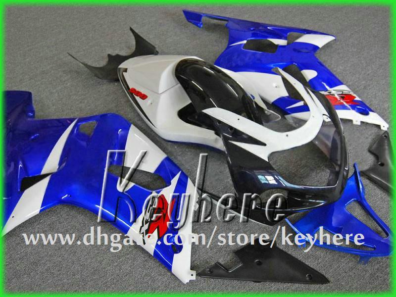 Custom Race Fairing Kit voor Suzuki GSXR 600/750 01 02 03 GSX R600 / 750 GSXR600 2001 2002 2003 K1 BIJGELIJKHEID G1G Blauw Wit Motorfiets Lichaamswerk