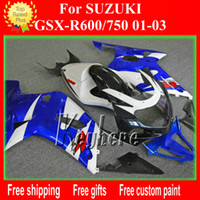 Wholesale Motorcycle Race Fairing Kits - Custom race fairing kit for SUZUKI GSXR 600 750 01 02 03 GSX R600 750 GSXR600 2001 2002 2003 k1 fairings G1g blue white motorcycle body work