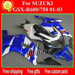 Wholesale Custom Fairings For Motorcycles - Custom race fairing kit for SUZUKI GSXR 600 750 01 02 03 GSX R600 750 GSXR600 2001 2002 2003 k1 fairings G1g blue white motorcycle body work