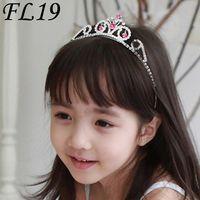 Wholesale flower news - News Fashion Clear and Red Rhinestones Crown Flower Grils Headpiece Royal Crown Princess Crown FL19