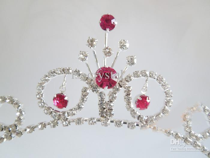News Fashion Clear e Red Strass Crown Flower Grils Headpiece Corona reale Princess Crown FL19
