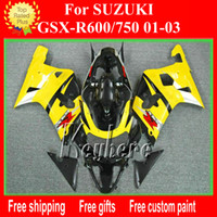 Wholesale Motorcycle Parts For Suzuki - Customize ABS plastic fairing kit for SUZUKI GSX R600 R750 01 02 03 GSXR 600 750 2001 2002 2003 k1 fairings G1h new yellow motorcycle parts