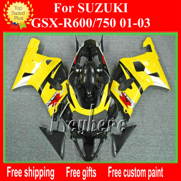 Customize ABS plastic fairing kit for SUZUKI GSX R600 R750 01 02 03 GSXR 600 750 2001 2002 2003 k1 fairings G1h new yellow motorcycle parts