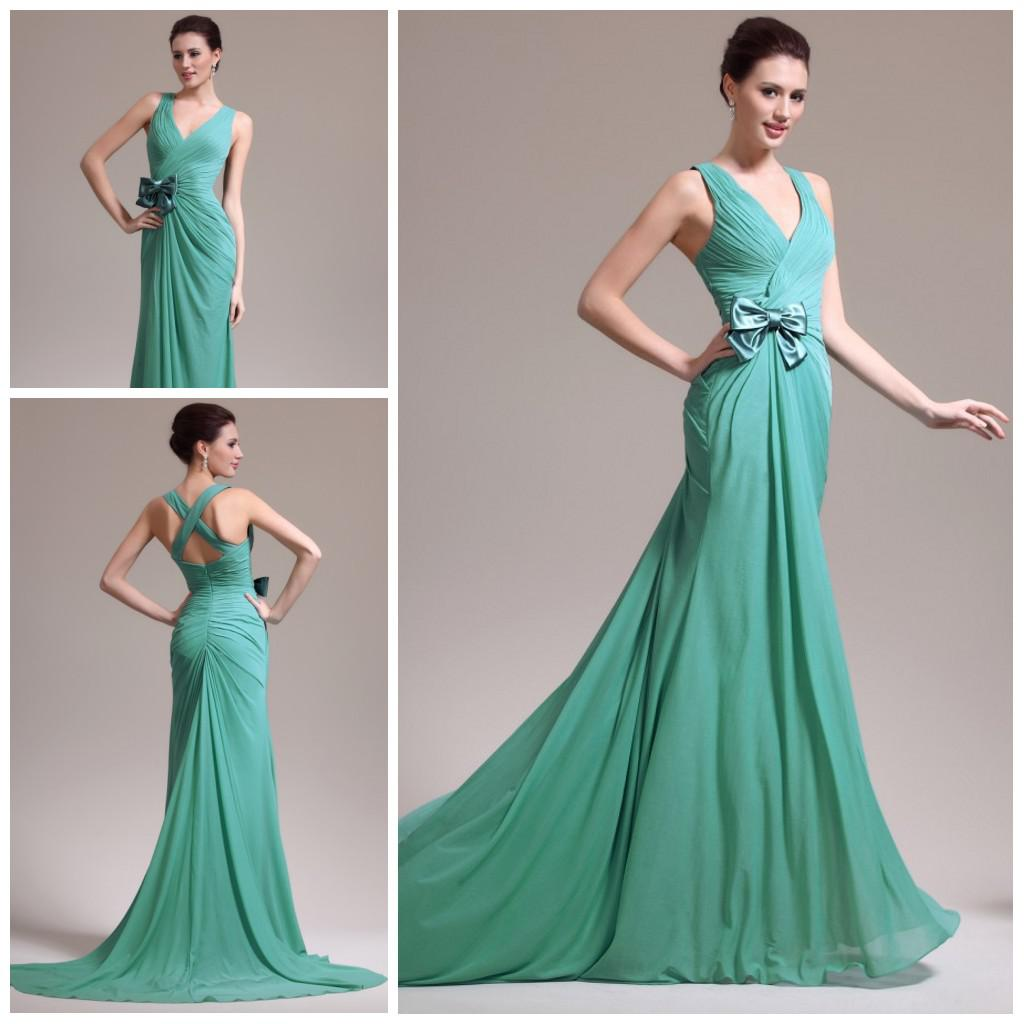 Serious Sexy Prom Gowns V Neck Sheath Open Back Mint Chiffon ...