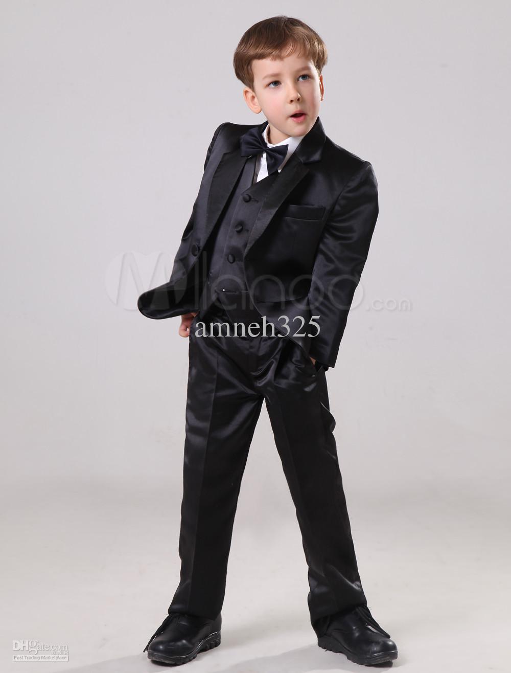 2018 Hot Sale Little Boy Suits For Wedding Suits Black Handsome ...