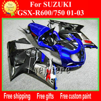 Wholesale Plastic Kit Motorcycle - Customize ABS plastic fairing kit for SUZUKI GSX R600 R750 01 02 03 GSXR 600 2001 2002 2003 k1 fairings G3h new black blue motorcycle parts