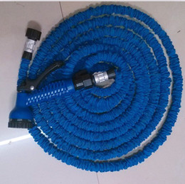Wholesale Expandable 75ft - Expandable & Flexible hose Blue Water Garden Pipe with spray nozzle 25FT 50FT 75FT