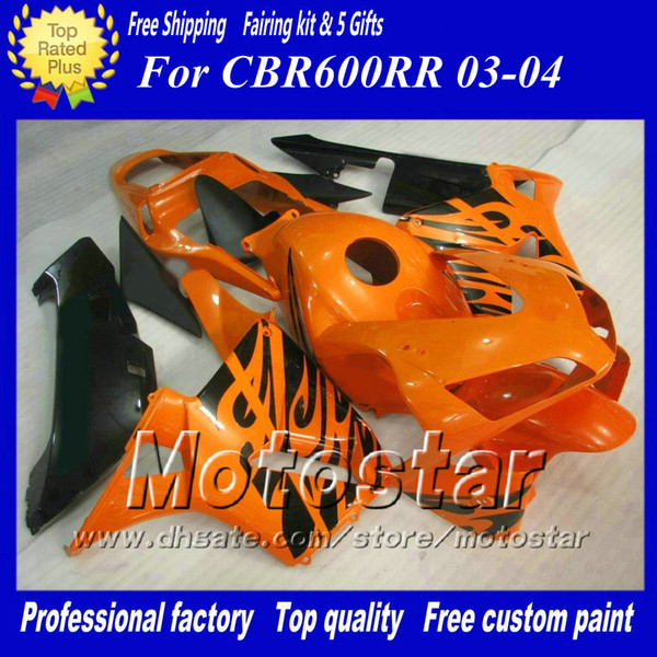 7 Gifts injection molding fairings set for HONDA CBR600RR F5 2003 2004 CBR 600 RR 03 04 orange black custom fairing kit ae35