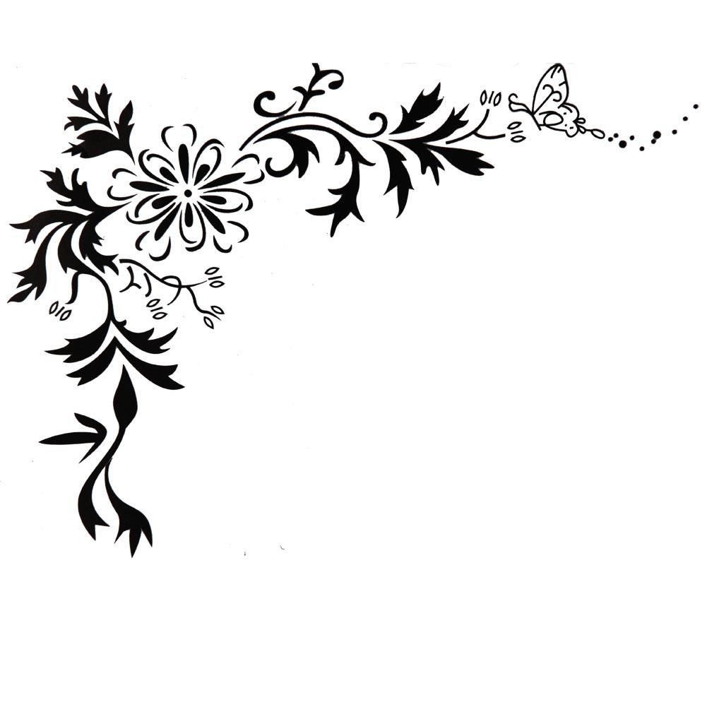 90 X 22 Large Vine Butterfly Wall Decals Removable: X Large Contemporary Black Flowers Floral Tribal