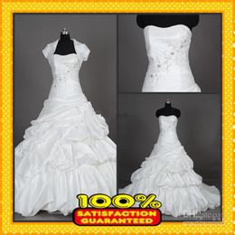 Wholesale Taffeta Wedding Gowns Online - 2016 Hot Sales! Custom Made Real Photos A-line Ivory Taffeta Wedding Bride Dresses Bridal Gowns Online