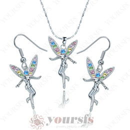 Wholesale Tinkerbell Pendants - Yoursfs Personality Jewelry Set 18 K White Gold Plated Crystal Tinkerbell Pendant Necklace&Earring Gemstone Jewelry Sets S005W2 for Women