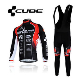 Wholesale Cube Black Thermal - 2013 NEW!High Quality CUBE Winter Thermal Fleece Long Sleeved Cycling Jersey + bib pants,Men's cool outdoor riding wear