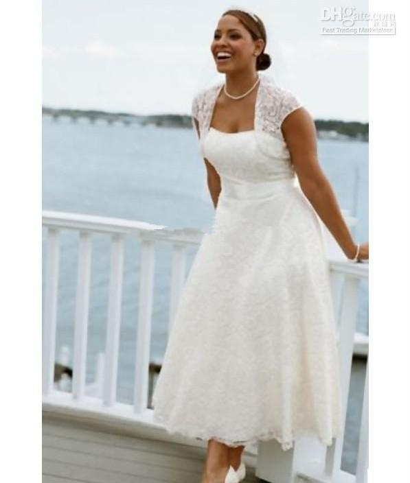 Discount Hot Selling Tea Length A Line Lace Bridal Dresses Plus Size Gowns Cap Sleeves Beach Wedding Pictures Of Second