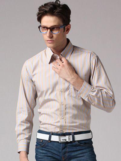 2018 Light Tan Stripe Pattern Men's Dress Shirt #u7 12cu From ...