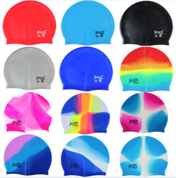 Discount women swim bathing caps - 2017 New Fashion Silicone Swim Cap Color Swimming Cap bathing cap man men's woman lady mix color for gifts