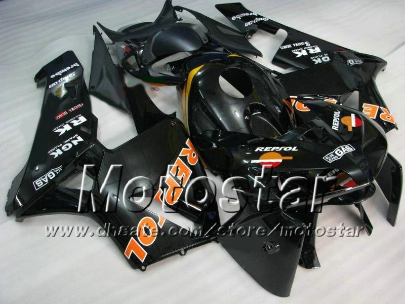 7 Cadeaux carénages moto pour Honda CBR600RR F5 2005 2006 CBR 600 RR 05 06 injection noir brillant moulage capotage ABS ae64