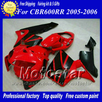 Kit carénages moto 7Gifts pour HONDA CBR600RR F5 2005 2006 CBR 600 RR 05 06 brillant rouge noir moulage par injection ABS carénage ae66