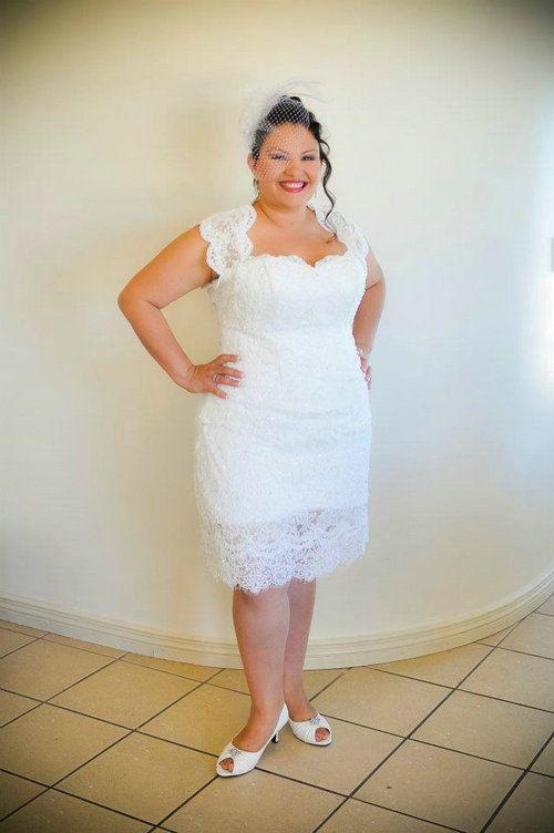 Cheap Plus Size Sheath Short Beach Wedding Dress 2013 Lace