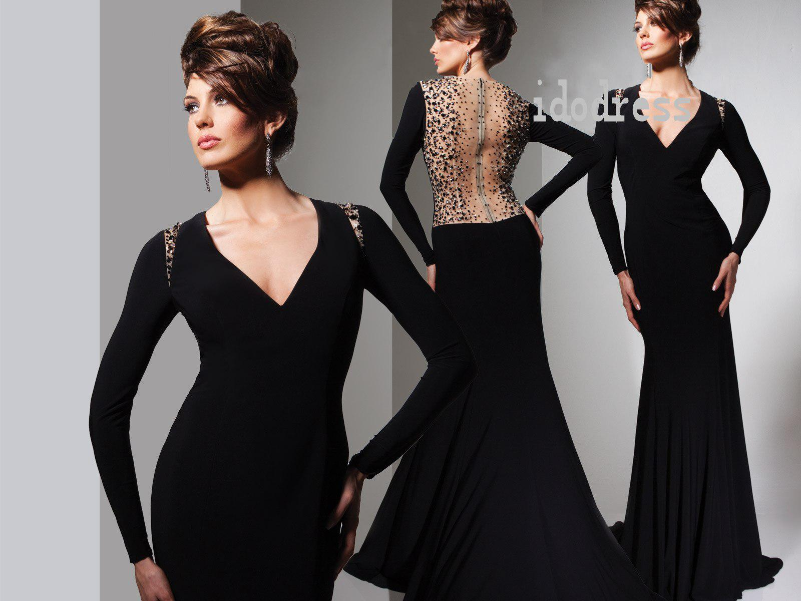 Black Sexy Evening Dresses 2014 V-neck Sheath Column Hollow Back ...