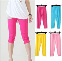 Wholesale Green Leggings Cheap - Cheap NEW Summer Women's Candy colors Seamless Stretchy calf Leggings Elastic Tights,high quality,support drop shipping