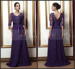 Wholesale Empire Waist Mother Bride - 2015 New delicate lace a-line empire waist v-neck 34-sleeves floor-length beaded Mother of The Bride dress