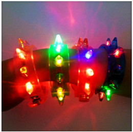 Wholesale Funny Christmas Flash - Low Price Funny LED Light -UP Flashing Spike & Stud Bracelet Jewelry Great for Party Supplies Christmas Gifts Toys Free Shipping 24pcs
