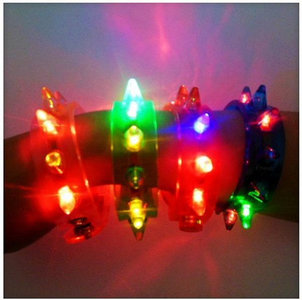 Low Price Funny LED Light -UP Flashing Spike & Stud Bracelet Jewelry Great for Party Supplies Christmas Gifts Toys Free Shipping 24pcs