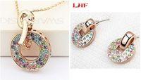 Wholesale Earring Crystal Swarovski Pendant - Fashion Accessories Bijouterie For Women Rose Gold Plating Crystal Pendant Necklace Earring Jewelry Sets Make With Swarovski Elements 2881
