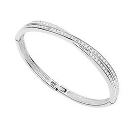 Bracelete de cristal encantador em ouro 18k banhado a ouro on-line-Charm jóias pulseiras de cristal das mulheres feitas com swarovski elements 18k banhado a ouro branco 6826