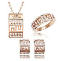 Wholesale Gold Engagement Rings Swarovski - Rings Earrings Necklace Crystal Jewelry Sets Fashion Rose Gold Accessories For Women make with Swarovski Elements (4- colors) 5795