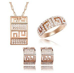 Wholesale Eastern Element - Rings Earrings Necklace Crystal Jewelry Sets Fashion Rose Gold Accessories For Women make with Swarovski Elements (4- colors) 5795