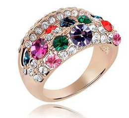 Wholesale Swarovski Jewelry Rose Gold - Bridal Costume Jewellery Women's Crystal Ring Fashion Jewelry make with Swarovski Elements Rose Gold Plated Free shipping (4- colors) 4808