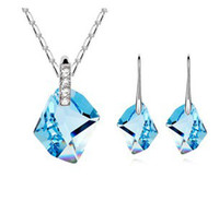 Wholesale Aqua Mix Gold - Ms. Necklace Earrings Accessories Set in high quality Wedding Jewelry Sets Make With Swarovski Elements 8339